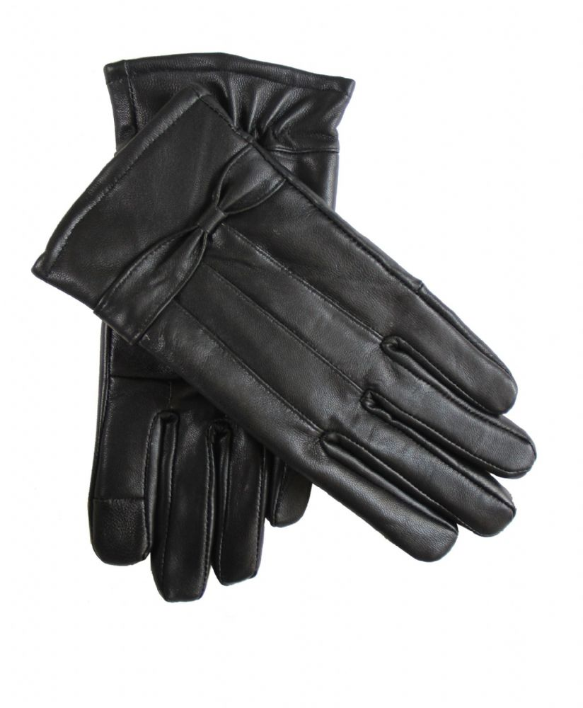 Ladies black touch leather winter gloves  (H267-WG6608)